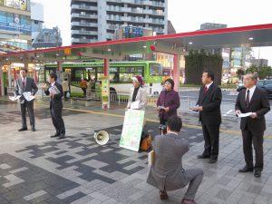 県議会野党らが、TPP強行抗議宣伝